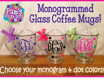 Monogrammed GLASS COFFEE MUG with Base& Handle add Monogram Name Initial Polka Dots Ribbon Great Secretary Administrative Professional Gift