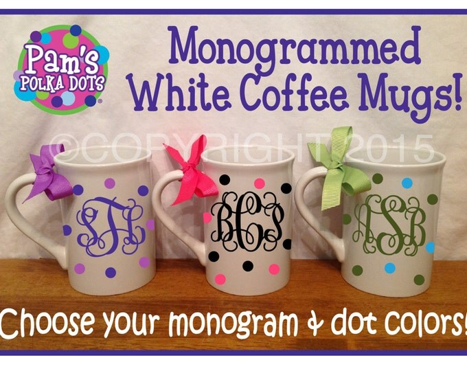 Personalized WHITE COFFEE MUG with Monogram & Handle Name Initial Polka Dots Ribbon Great Secretary Administrative Professional Gift
