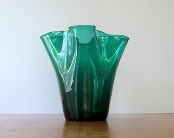 Mid Century Blenko Fluted Glass Vase - Anderson Green 404 M