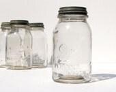 Drey Antique Mason Jar - LAST ONE - Fruit Canning Jar - Pale Peach Pink Hue Glass - Drey Perfect Mason - Ball - Zinc Top
