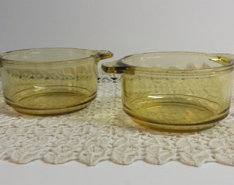 Small Glass Bowls Yellow Glass Bowls Pair