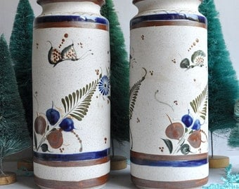 SALE 50% OFF! Signed Matched Pair Butterfly Vases - Tonala Mexico