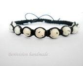 Dalmatian wrap bracelet -Shambala - Unisex summer boho bracelet