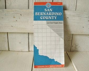 Vintage map San Bernadino County Las Vegas road map street guide 1993