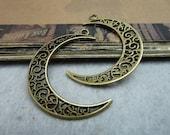 20pcs 30x40mm The Moon Antique Bronze Retro Pendant Charm For Jewelry Bracelet Necklace Charms Pendants C8037