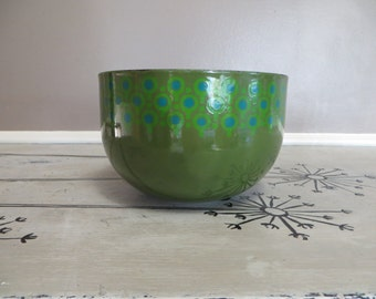 Green Enamel Bowl Merrill Ames VEFA Epicure Enamelware Mid Century Enamel Bowl Modern Enamelware West Germany Lollypop Green and Blue