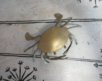 Brass Ashtray Trinket Box Crab Ashtray Hinged  Ashtray with Lid Unique Ashtray Ring Box Brass Trinket Storage