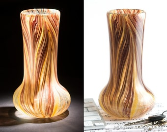 One Of A Kind Hand Blown Art Glass Vase - Earthy Sandstone Pattern - Tall with Flared Base