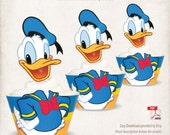 INSTANT DOWNLOAD, Printable Donald Duck Cupcake Toppers & Wrappers, Digital File, Mickey Mouse Clubhouse, Mickey and Friends, Donald Duck