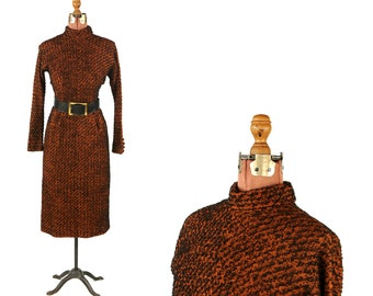 Vintage 1960's Burnt Dark Orange + Black Fuzzy All Wool Knit Dolman Sleeve Belted Dress S