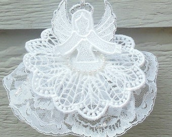 Guardian Angel lace ornament