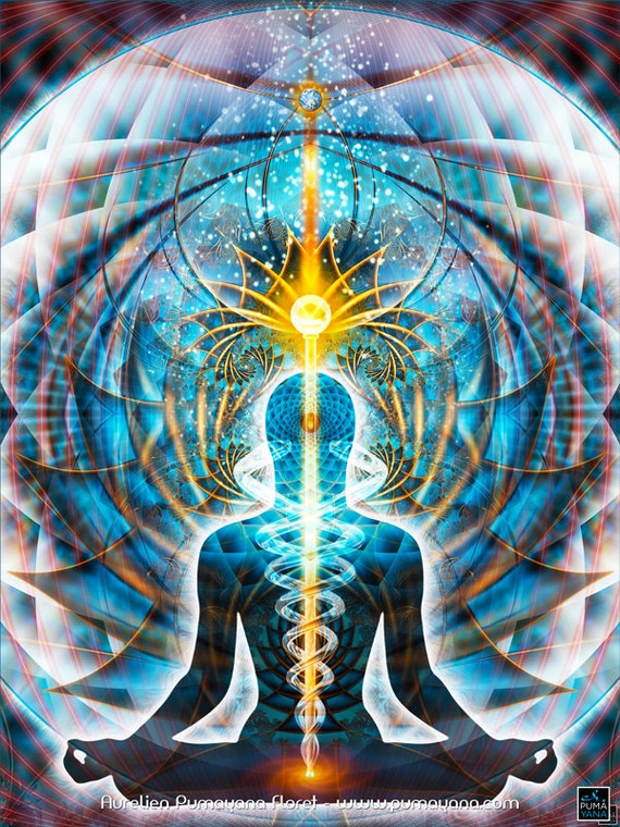Galactic body kundalini tapestry wall hanging throw bed - Meditation art wallpaper ...