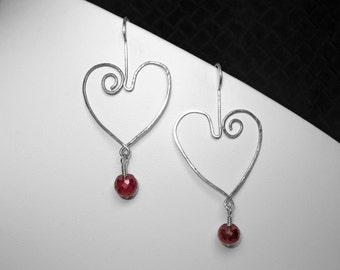 Indian Ruby Heart Earrings in Silver