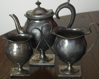 antique silver plate tea set service