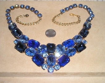Vintage Large Spectacular Bib Necklace With Blue Rhinestones Runway Show Stopper 1960's Jewelry 2290