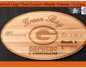 Pro Football Logo Oval Custom Maple Cheese / Cutting Board with Name and Date personal laser engraving