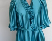 Vintage Robe Dressing Gown Shiny Satin Robe Size Small Satinglow