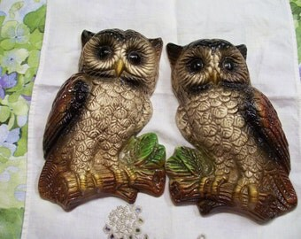 Vintage Ceramic Owls Wall Hangings Pair Plaque 8""