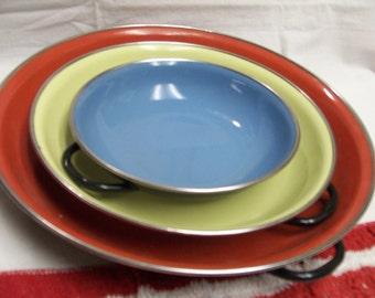 Yugoslavia Enamelware Pans Saute Lot of 3 Colorful Red Yellow Blue 3 Sizes Vintage Cookware Enamel Cooking Vintage Kitchen