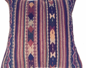 Mexican ethnic wool weaving with tan rayon/cotton backing.