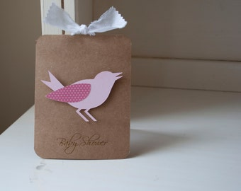 Bird Baby Shower Invitations Girl Pink Thank You Notes VIntage Shabby Chic