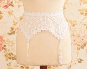 Vintage White Floral Embroidered Web Lace Garter Belt, Suspender Belt. Waist Circumference: 22 - 29""
