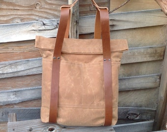 Waxed Canvas and Leather Rucksack- Roll Top Backpack