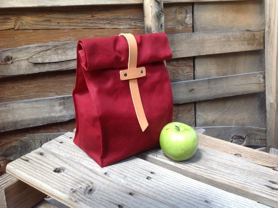 NEW! Limited Edition RED Waxed Canvas and Leather Lunch Tote Waxed Canvas Lunch Bag