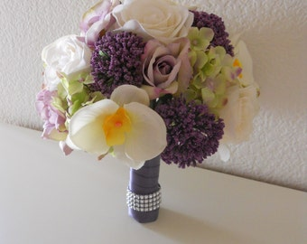 Purple, Lilac, Lavender, Ivory Roses and Orchids Bridal Bouquet