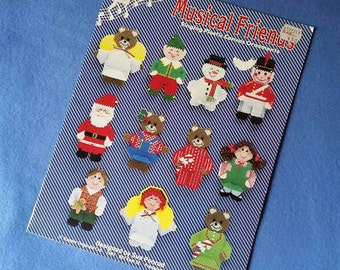Musical Friends Singing Plastic Canvas Ornaments - vintage pattern book, designed by Sue Penrod