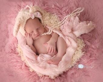 Crochet Newborn Lamb Bonnet - newborn, bonnet, lamb, prop, photoprop
