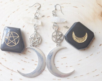 crescent moon earrings with pentagrams and quartz crystals
