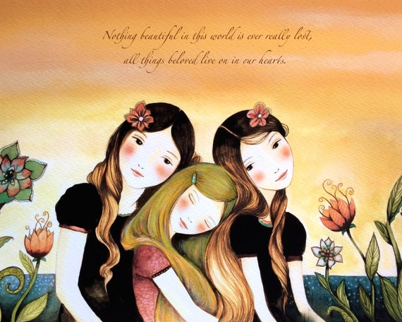 Three sisters best friends  with brown and blonde hair