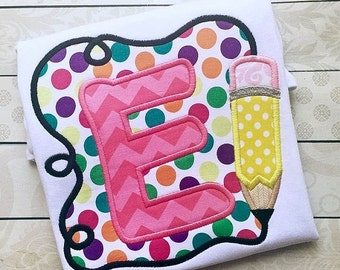 Pencil Frame with Initial - School Shirt - Appliqued and Personalized