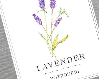 Personalized Lavender Labels or Tags, set of 18