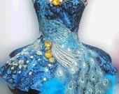 Peacock Queen Showgirl Vegas Cabaret Dance Dress XS-XL