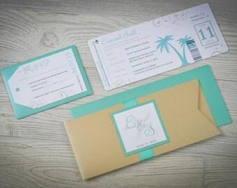 Destination Wedding Invitations - Passport Wedding Invitations - Airline Ticket Wedding Invitations - Beach Wedding Invites