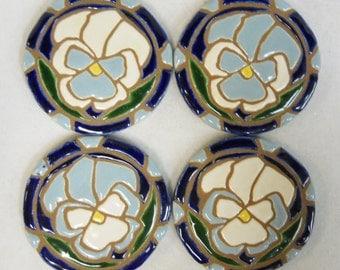 Ceramic Tile Coasters White /Wedgewood Blue  PANSY Mosaic Art Handmade Ceramic Tile Coasters Stoneware  Floral Art -felt backed - Set of 4