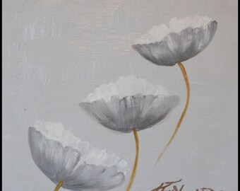 """Poppies on Grey, an original 10""""x10"""" oil painting by Jo Edwards"""