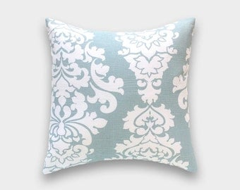 Snowy Blue Berlin Throw Pillow Cover. Choose from 12 Sizes. Light Blue Floral Flowers Cushion Cover.