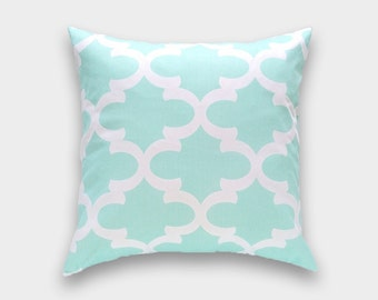 50% OFF Mint Green Moroccan Throw Pillow Cover. 16X16 Inches. Quatrefoil Cushion Covers. Moroccan Trellis