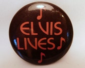 Vintage ELVIS LIVES Pin - Pinback - Button / Metal / Memorial / Music Notes / The King / 1970s - 1980s / Collectible