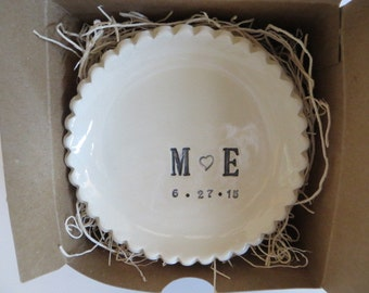 wedding ring dish, Large ring holder, CUSTOM Ruffled You Plus Me initial tray,  Black and White,  Gift Boxed, Made to Order