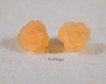 Frosted Resin Rose Earrings, Pale Peach Rose Pierced Earrings. Girls Stud Earrings, Gift For a Girl or Teen  CKDesigns.us
