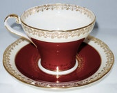 Aynsley Maroon and Gold Fine Bone China Tea Cup and Saucer