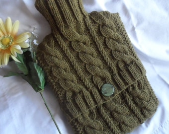 Hand Knitted Olive Cabled Hot Water Bottle Cover