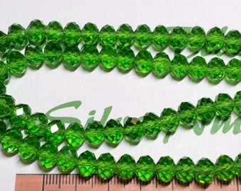 1 strand of 16 inches of 8x6mm Faceted Rondelle Peridot Green Chinese Crystal