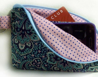 Blue and Pink Large Cell Phone Wallet