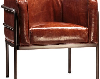 Brantley Modern Barrel Leather Chair