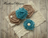 TURQUOISE Bridal Garter Set - Keepsake & Toss Garters - Burlap Chiffon Flower Pearl Ivory Lace Garters - Rustic Wedding - Something Blue